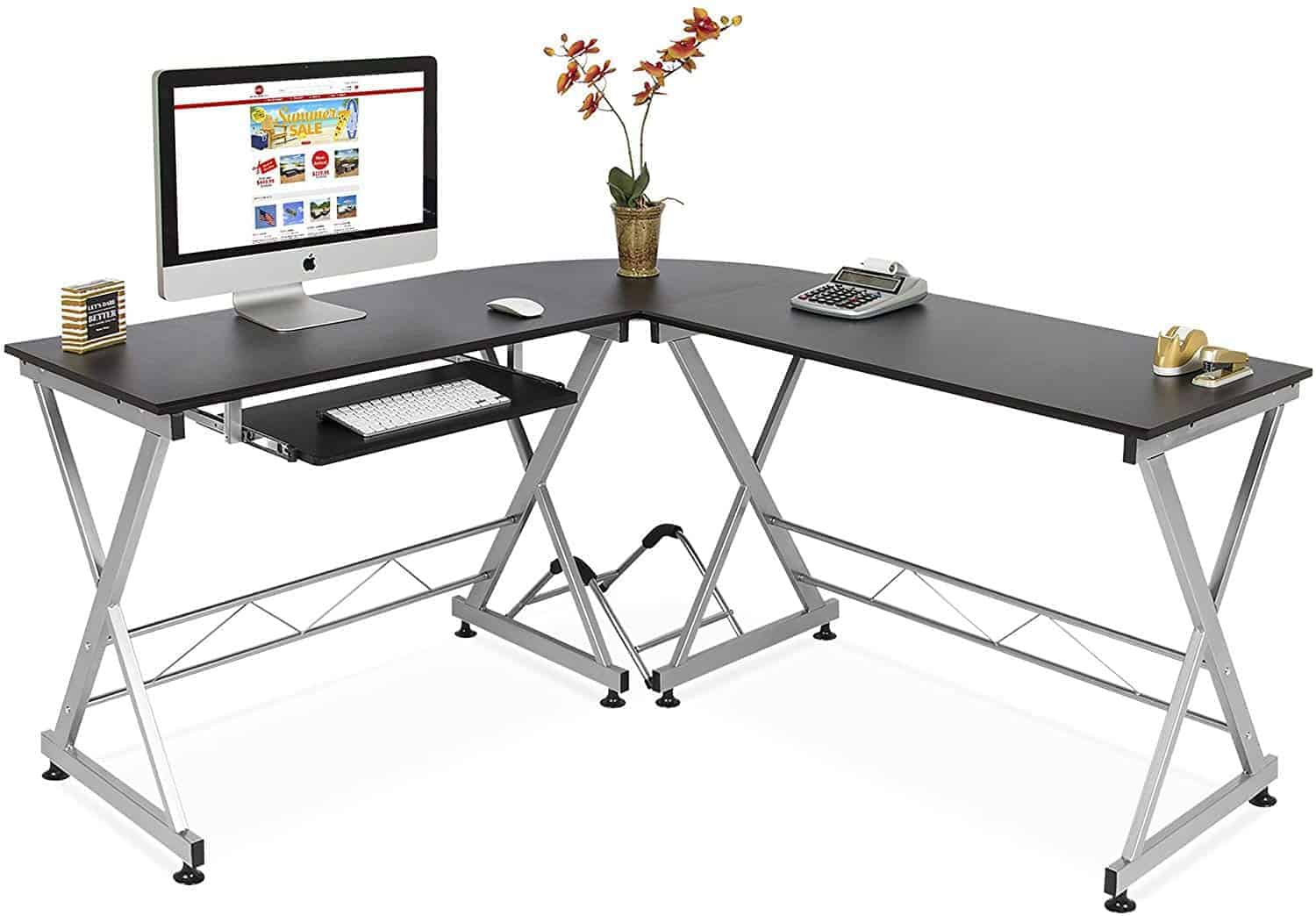 Best Choice Products Modular Wooden L-Shaped Gaming Desk