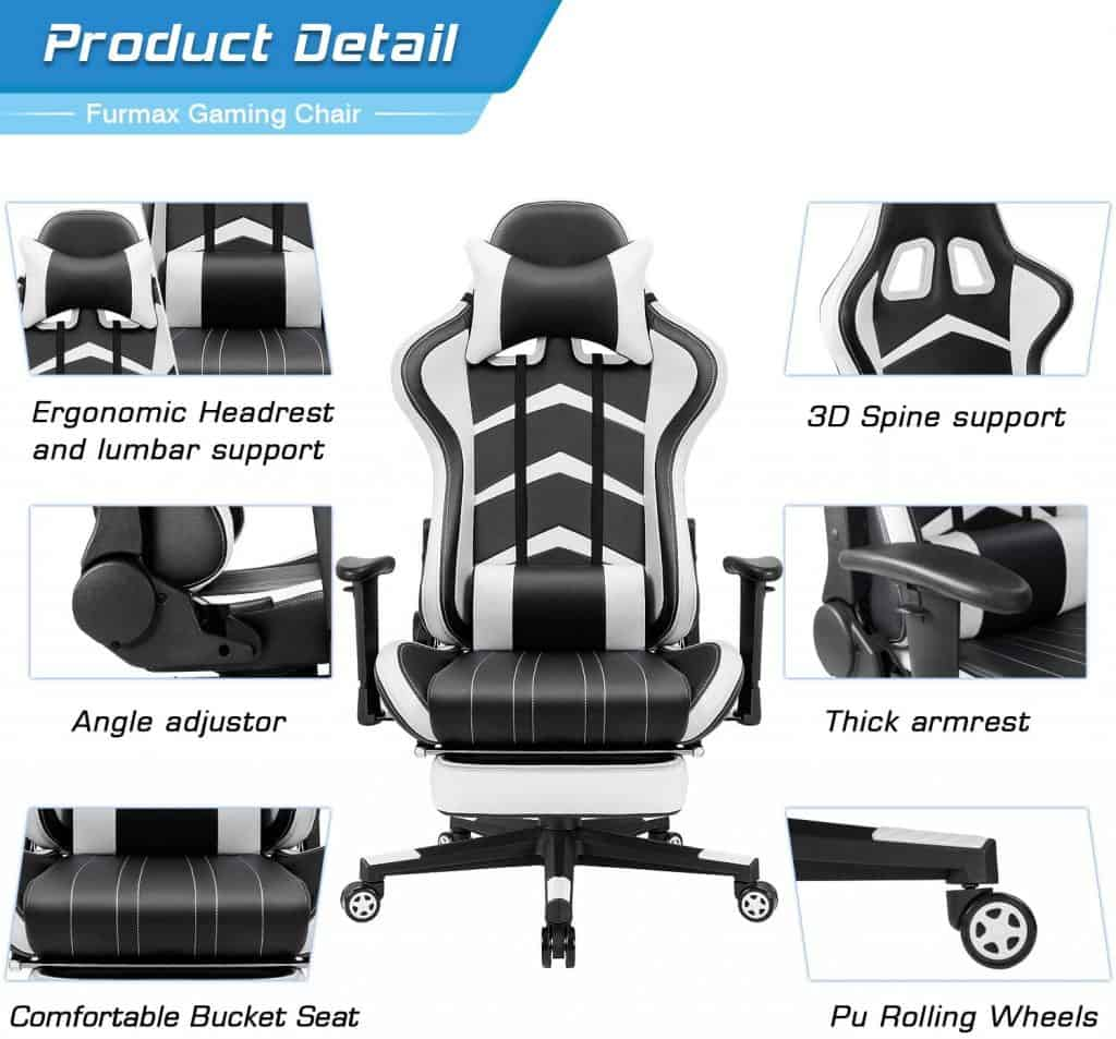 Furmax Racing Chair with Footrest