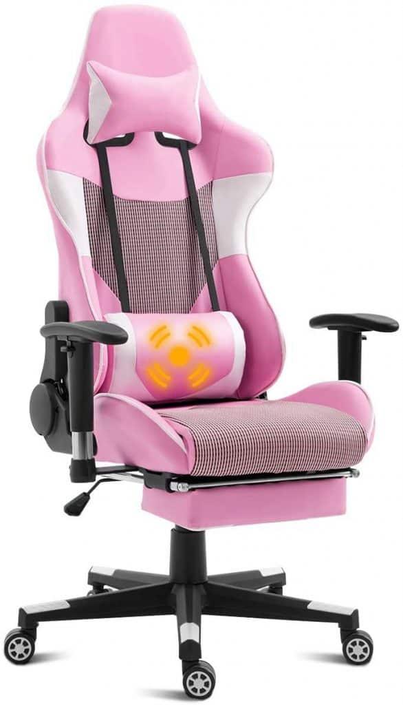 Giantex Pink Massage Gaming Chair