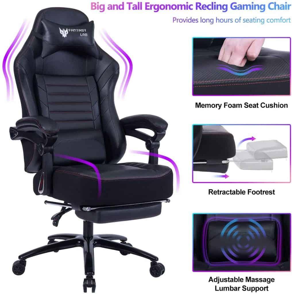 FANTASYLAB - Big & Tall 400lb Massage Memory Foam Reclining Gaming Chair