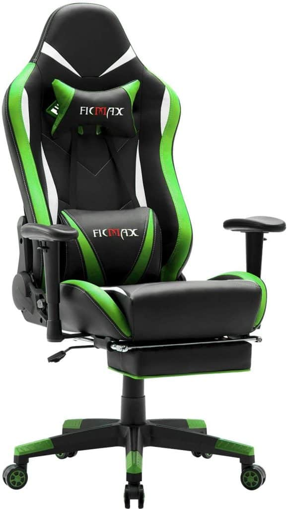 Ficmax Massage Gaming Chair with Footrest Ergonomic Gamer Chair for E-sport