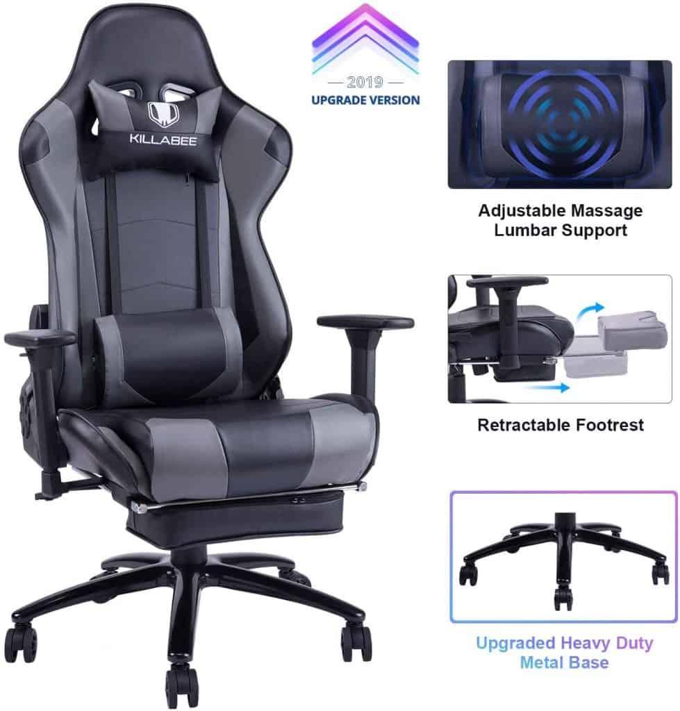 KILLABEE Big and Tall 350lb Massage Gaming Chair Metal Base