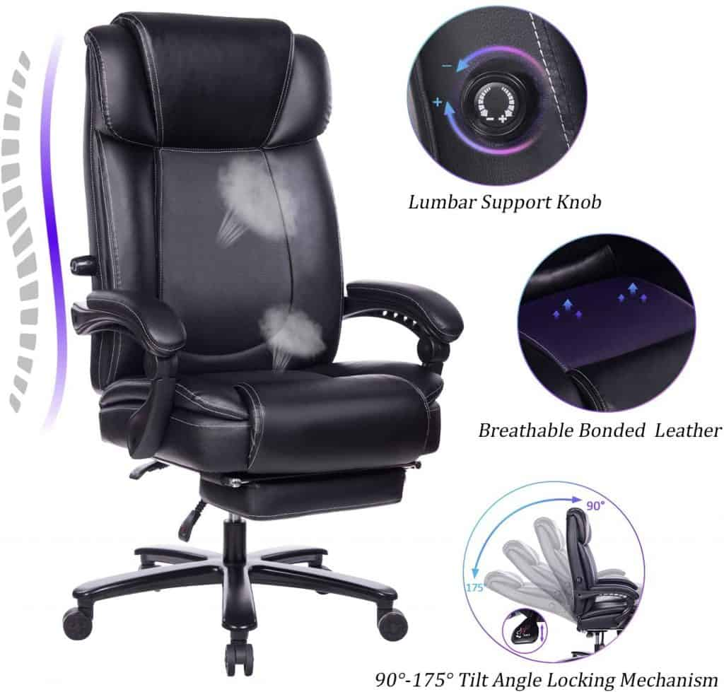 REFICCER – Big and Tall Reclining Leather Office Chair with Footrest