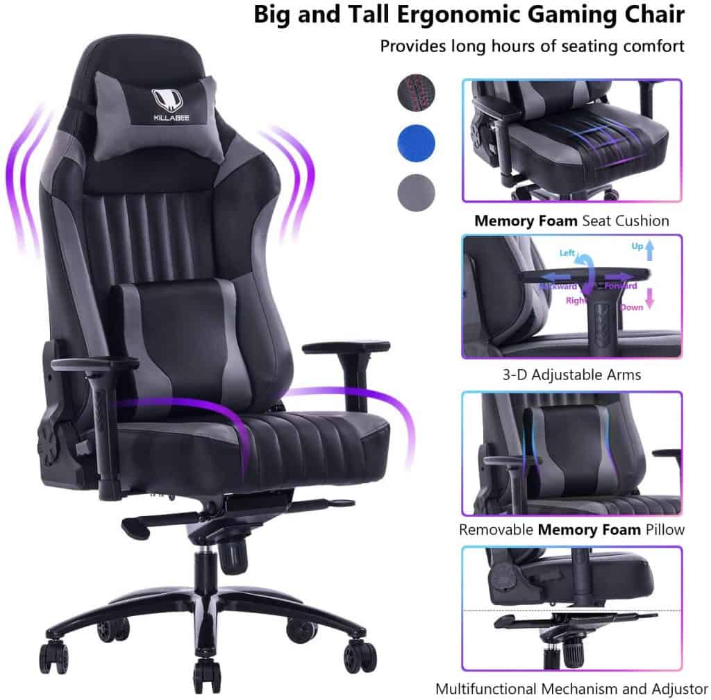 VON RACER Big and Tall 400lb Memory Foam Gaming Chair
