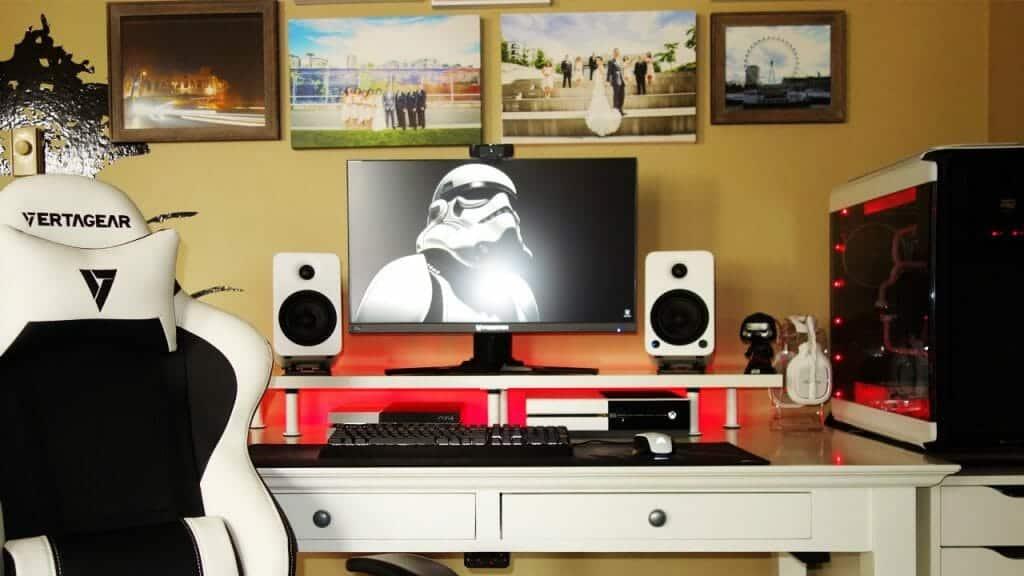 Black and white gaming setup