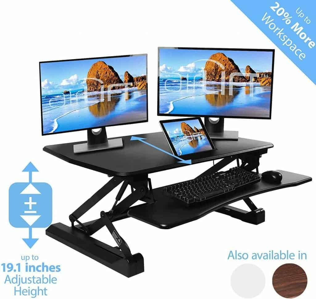 Seville Classics airLIFT Height Adjustable Stand Up Desk Converter