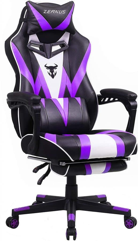 Zeanus Purple Massage Gaming Chair