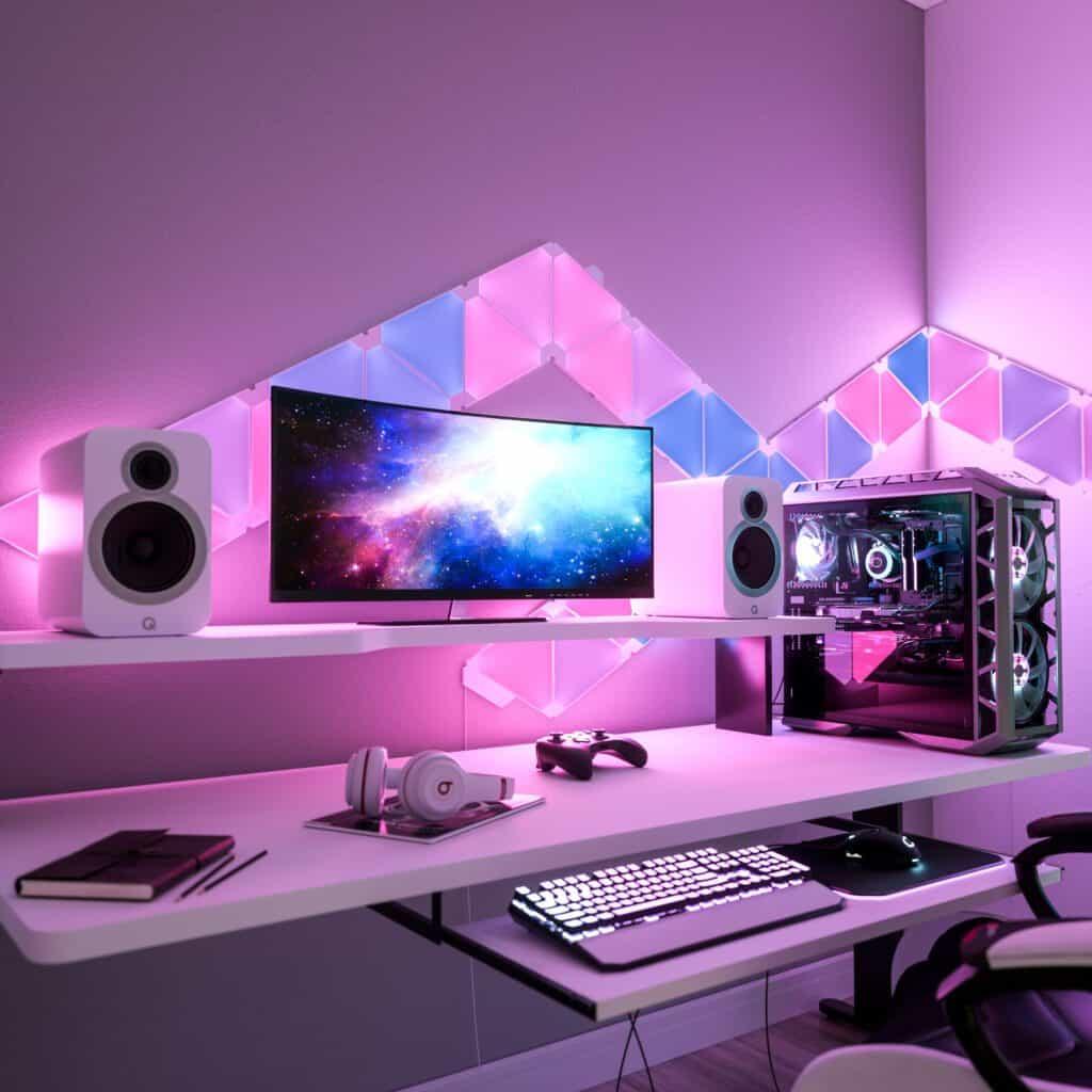 White & Pink Gaming Setup