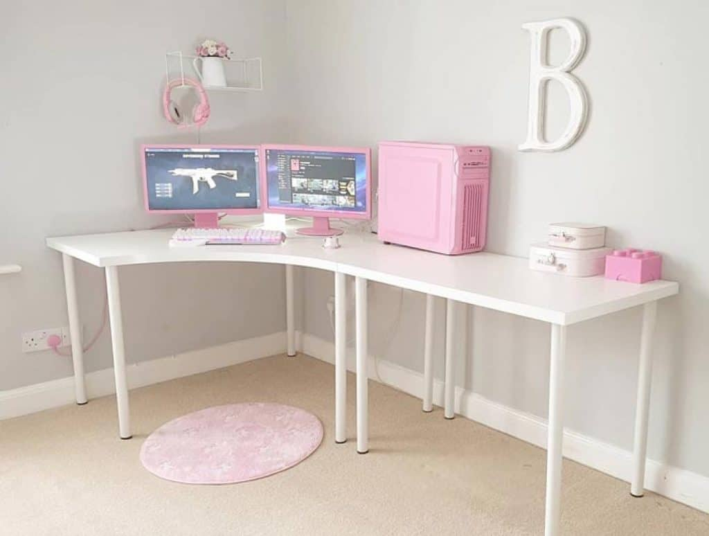 Pink and White Gaming Setup