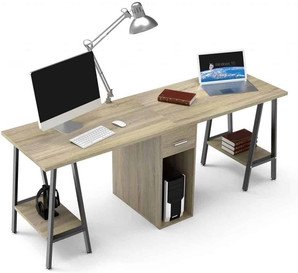 DEWEL Two Person Computer Desk with Drawer