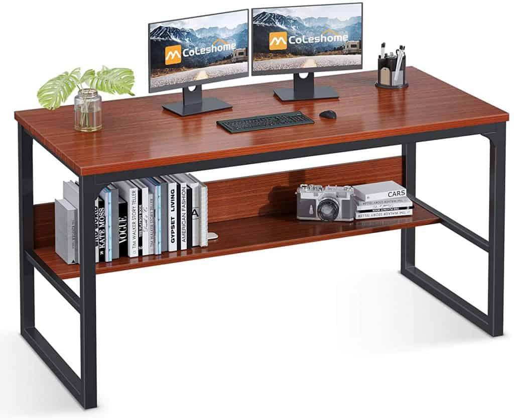 Coleshome Computer Desk with Bookshelf