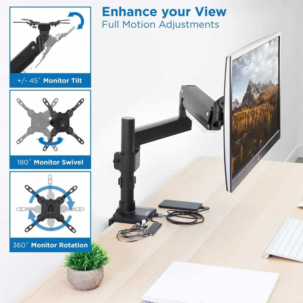 Mount-It! Premium Single Monitor Arm Desk Mount
