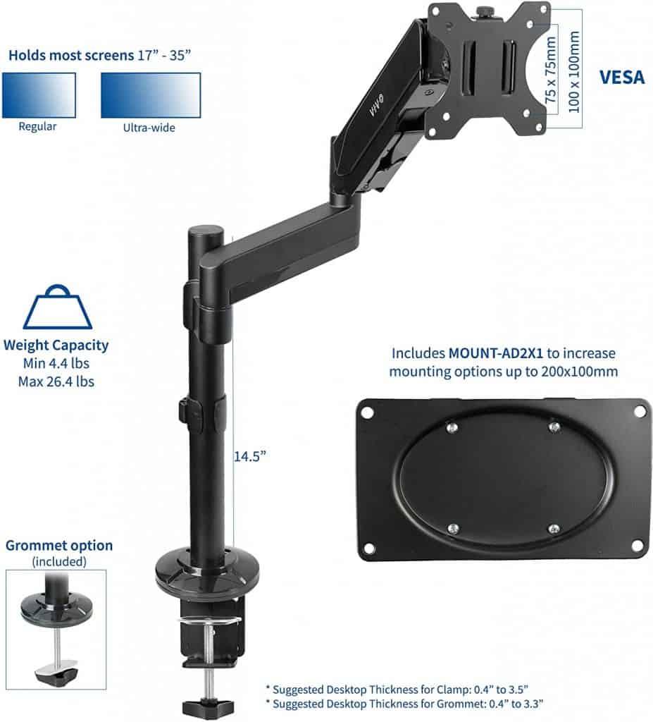 VIVO Articulating Pneumatic Spring Arm Desk Mount Stand