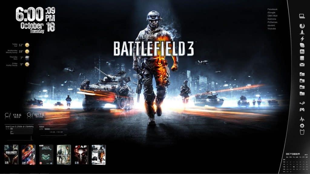 Battlefield 3 Rainmeter skins