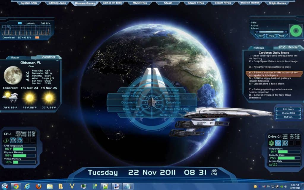 Mass Effect Rainmeter theme