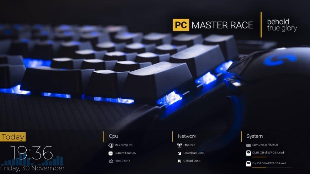 PC Master Race Rainmeter skins