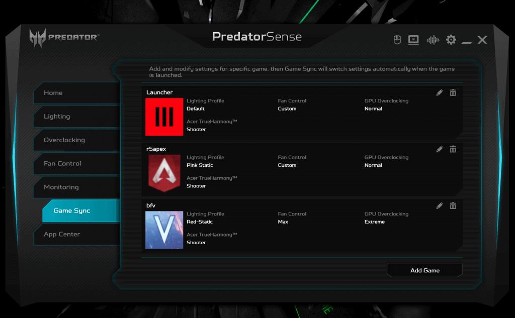 PredatorSense Game Sync